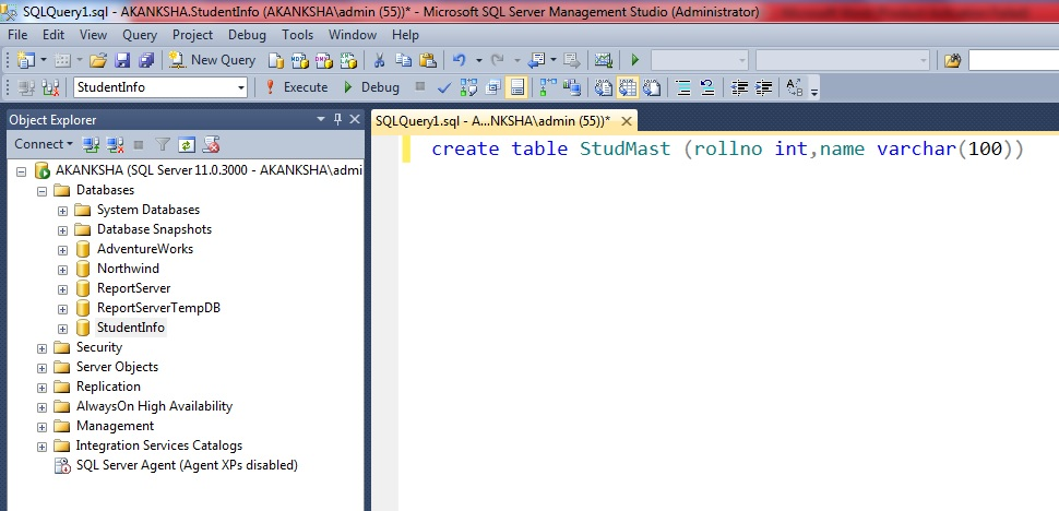 Creation of Table with SQL script