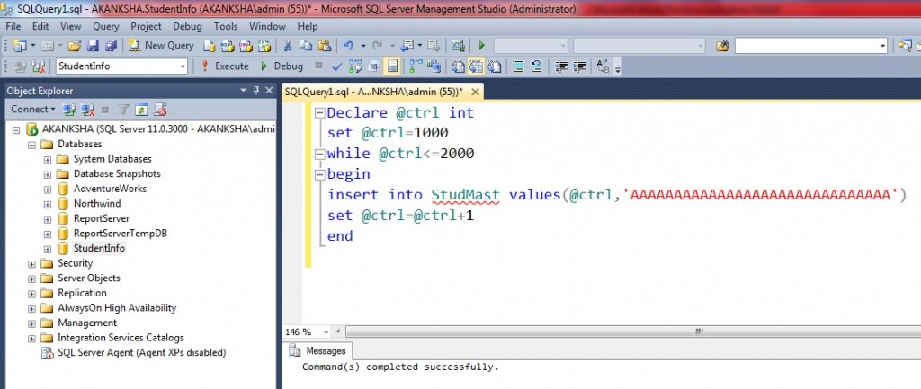 Run the script for populating the data to StudMast table insert from rollno 1000 to 2000