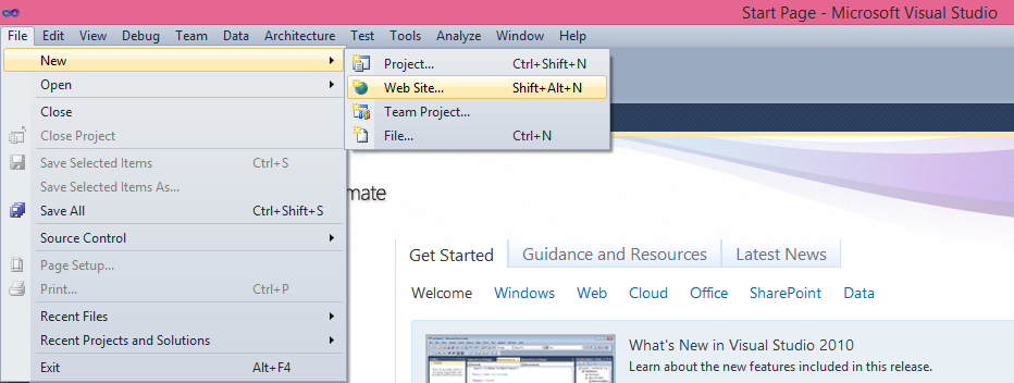 Visual Studio 2010 Click -on Create New Website