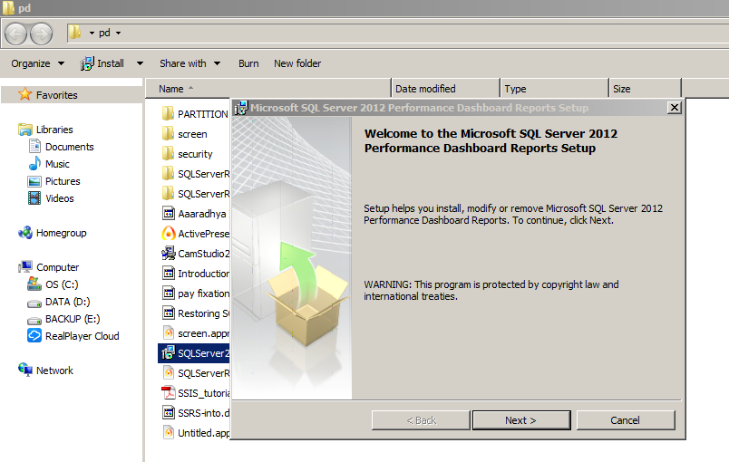 Installation of SQL Server 2012 Performance Monitoring Dashboard