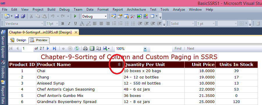 Chapter-9-Sorting of Column and Custom Paging in SSRS