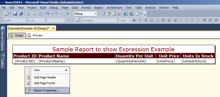 "Right click on the blank space below report designer and choose ""Report Properties"""