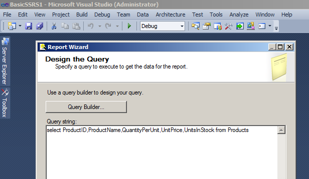 Writing SSRS Query