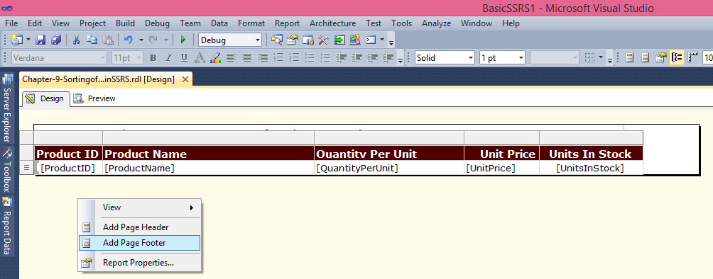 SSRS Interactive Sorting Tool