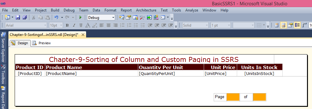 Adding custom paging in SSRS
