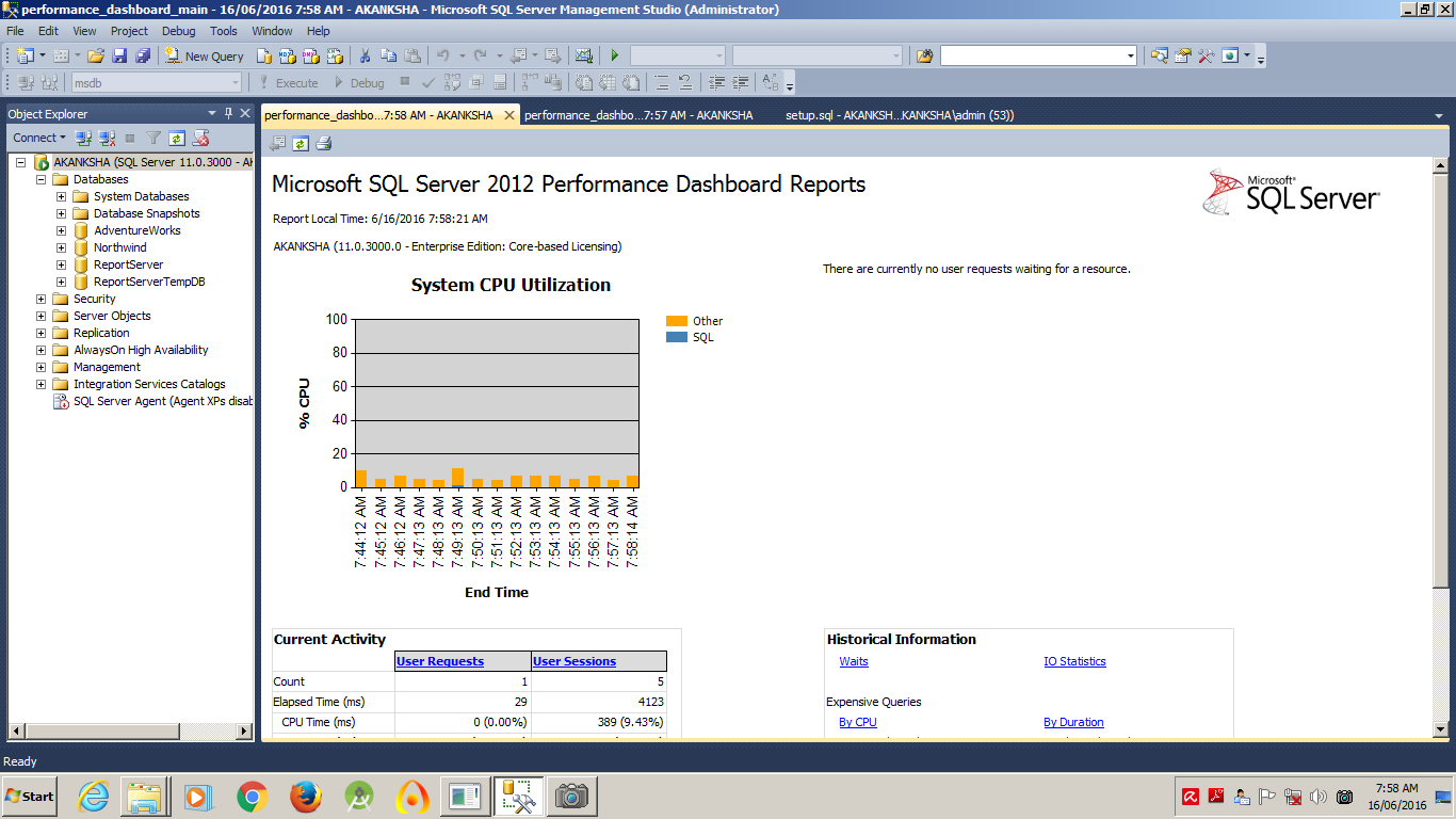 SQL Server Dashboard Look