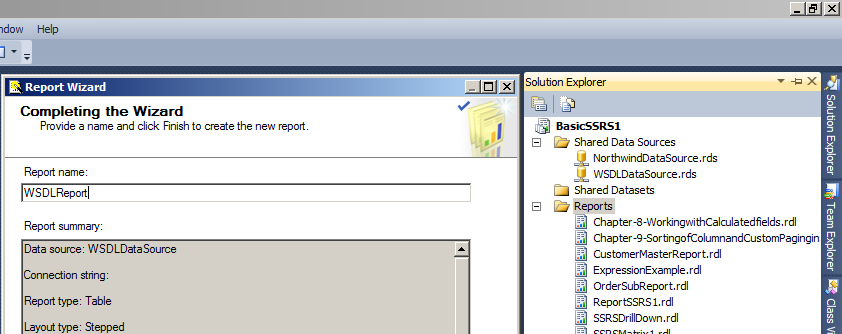 "Write the name of Report as ""WSDLReport"""