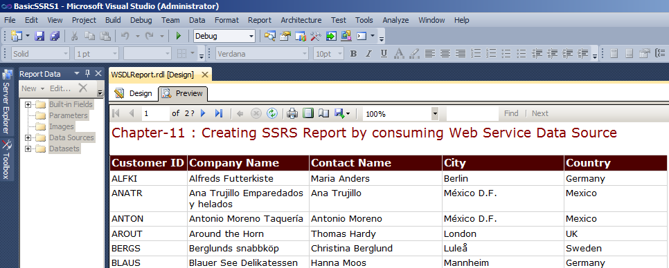 Final Preview of SSRS Report using WebService as data source