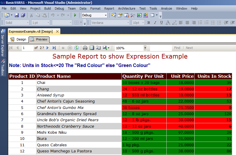 Preview Report