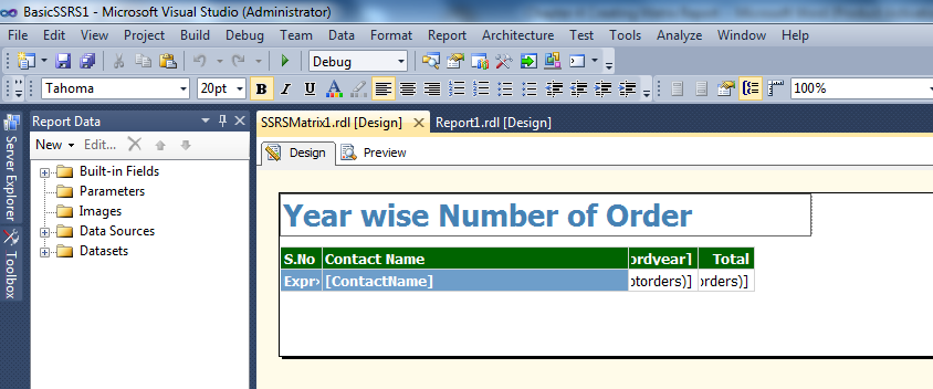 "Change the Report Header from SSRSMatrix1 to ""Year Wise No. of Order Placed"""