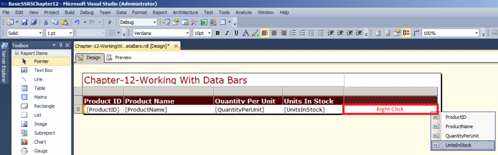 Data bars in SSRS