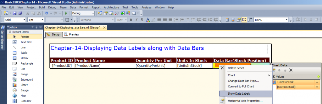 right click on Data Bar Column and choose Show Data Labels