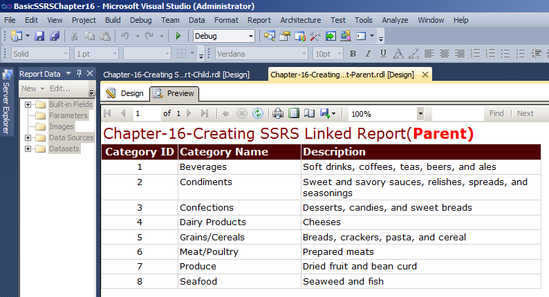 Report Created in Chapter1-Creating a basic SSRS Report