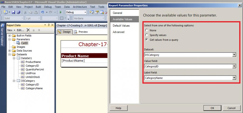 click on 'Add Dataset' Option as shown a DataSet Properties
