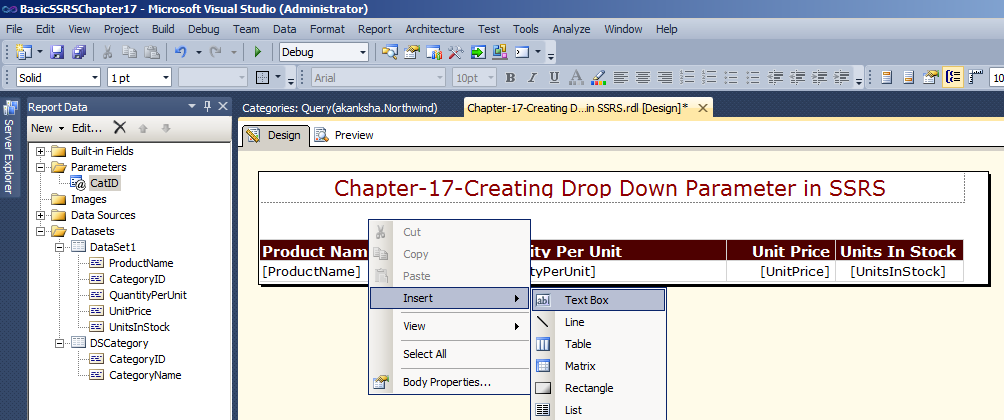 add text box for report parameter