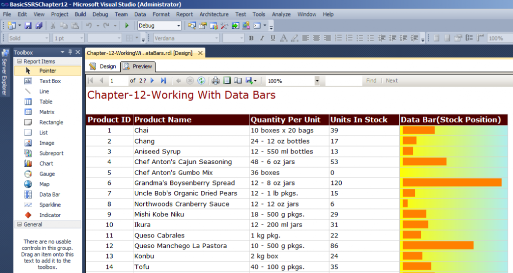 Preview of SSRS Data Bar