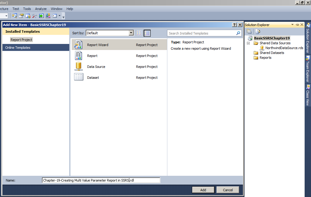 Chapter-19-Creating Multi Value Parameter Report in SSRS