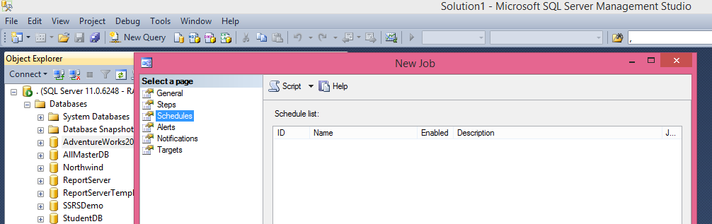 Click on Schedules and then on New to create a scheduler
