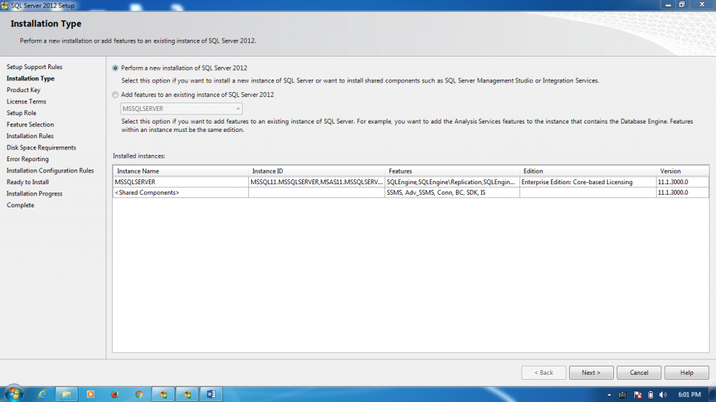the second option, if SQL Server 2012 it is not installed at your system