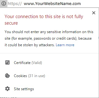 Not Secure Message Chrome browsers