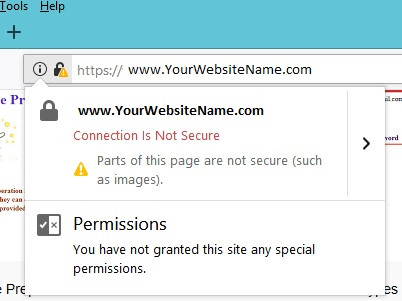 Not Secure Message Mozilla Firefox browsers